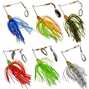 6 fishing hard spinner lure spinnerbait pike for Amazon fishing spinners