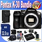 Pentax K-30 Weather-Sealed 16 MP CMOS Digital SLR (Body) (Black) + Extended Life Battery + External Rapid Travel Quick-Charger + 32GB SDHC Class 10 Memory Card + USB Card Reader + Memory Card Wallet + Shock Proof Deluxe Case + Accessory Saver Bundle!