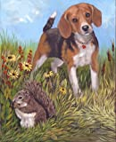 Beagle and Squirrel Canvas picture by Renaud