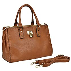 MG Collection MAILI Brown Top Handle Stitched Satchel Tote w/ Side Snap Buttons