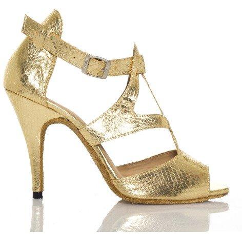 "Abby Q-7008 Womens Litin Shoes Ballroom Dance 4"" Flared Glod Heel Shoes Red Us Size7"