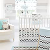 My Baby Sam Chevron 3 Piece Crib Bedding Set, Aqua/Gray thumbnail