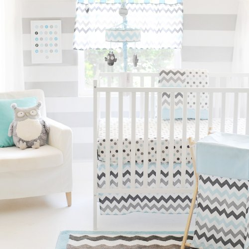 My Baby Sam Chevron 3 Piece Crib Bedding Set, Aqua/Gray