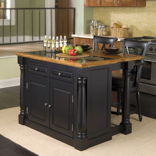Cheap 3pc Kitchen Island with Granite Top and Stools Set in Black Finish (VF_HY-5009-948)