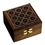 Handmade Wooden Jewellery Box with Star Motifs Handcarved Design 10.16 cm x 10.16 cm x 5.71 cm