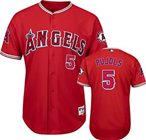 Albert Pujols Los Angeles Angels of Anaheim Scarlet #5 Authentic Jersey by Majestic
