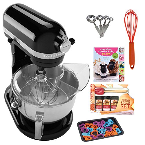 Kitchenaid Kp26M1Xob Professional 600 Series 6-Quart Stand Mixer, Onyx Black + Cupcakes, Cookies & Pie, Oh, My! Recipe Book + Silicon Whisk + Cookie Sheet With 22 -Piece Cookie Cutter + Accessory Kit
