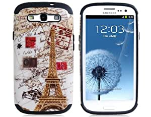 2 in 1 Eiffel Tower Print Plastic & Silicone Protective Case for Samsung Galaxy S3/i9300