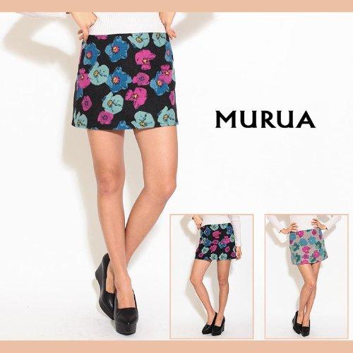 【MURUA(ムルーア)】メルトフラワー台形スカート1(S)サイズグレー(05)