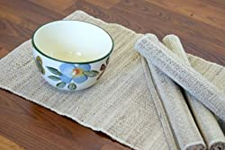 Leaf & Fiber Hand Made All Natural Sustainable and Eco-Friendly Placemats, Banana Fiber and Cotton, Brown, Set of 4