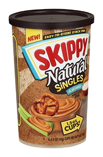 Skippy Natural Singles Peanut Butter Spread Creamy - 6 ct арахис changling peanut