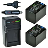 ChiliPower Sony NP-FV70 Kit: 2x Akku (1900mAh) + Ladegerät für Sony DCR-SR68, SR88, SX45, SX65, SX83, SX85, FDR-AX100, HDR-CX110, CX130, CX150, CX160, CX190, CX220, CX230, CX260V, CX290, CX300, CX305, CX330, CX350V, CX360V, CX380, CX430V, CX560V, CX580V,