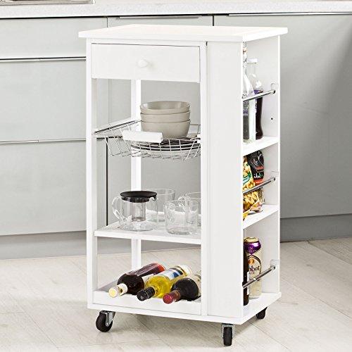 SoBuy® Carrello di servizio, Scaffale da cucina, Mensola angolare, Legno, FKW12-W(L50*L37*A86cm).IT