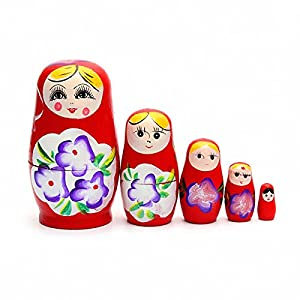 1 Set 5 PCS Matryoshka Russian Nesting Dolls Toy Wooden Doll Girl Children's Toy