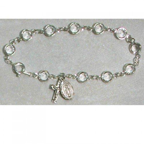 Deluxe Adult Crystal Bracelet Adult St. Patron Saint Catholic Religious Spiritual Medal Relic Birthstone Birthday Gemstone Month