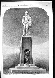 Antique Print of 1863 Memorial Statue Herbert Ingram Boston Lincolnshire England