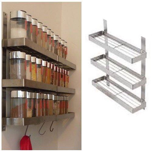 Stainless steel kitchen spice shelf rack kitchen organizer wall mount new ebay - Wall mounted spice racks for kitchen ...
