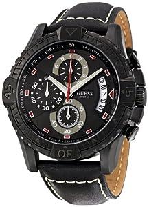 Guess W18547G1 - Reloj analógico de cuarzo para hombre con correa de piel, color negro