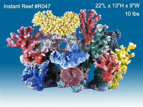 Instant Reef #047 Artificial Coral Reef Aquarium Decoration for Saltwater Fish, Marine Fish Only with Live Rock Aquarium, Coral Reef Tank, Freshwater Aquarium. Gorgeous Corals, Non-Toxic, Easy to Clean. Reef Aquarium at Saltwater Fish Only Tank costs