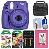 Fujifilm Instax Mini 8 Instant Film Camera (Grape) with Photo Album + Instant Film & Rainbow Film + Case + Batteries & Charger Kit
