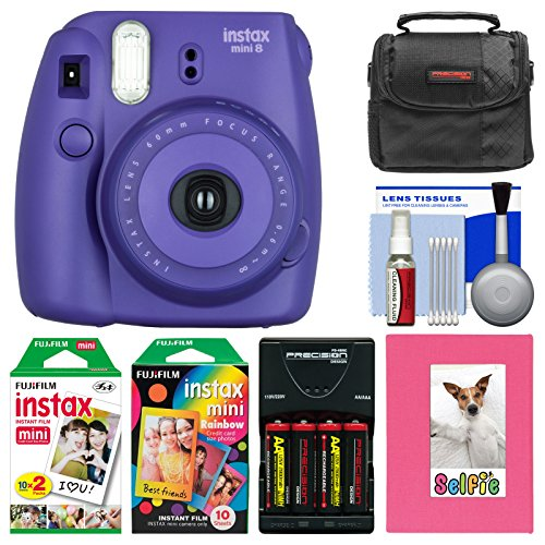 Fujifilm Instax Mini 8 Instant Film Camera (Grape) with Photo Album + Instant Film & Rainbow Film + Case + Batteries & Charger Kit (Mini Instax 8 Grape Kit compare prices)