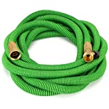 Waterree Tm 40 Feet Expandable Garden Hose - NEW 2016 Super Strong Construction- Strong Webbing -Solid Brass End + 9 Function Spray Nozzle and Shut-off Valve, Green