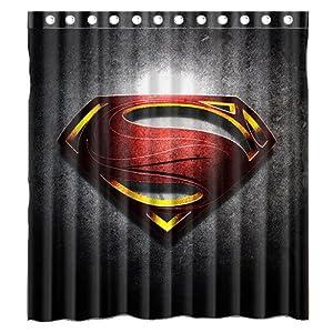 Custom Superman Logo Waterproof Polyester Fabric Bathroom Shower Curtain Standard