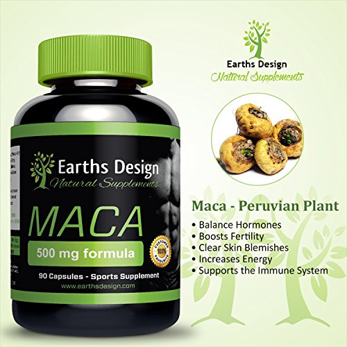 Pure Maca Root Supplement, Benefits Sexual Health, Supports Reproductive Health & Fertility, Increases Libido in Men and Women, Organic Lepidium meyenii Herb Extract, UK Made - 500 mg, 90 Capsules