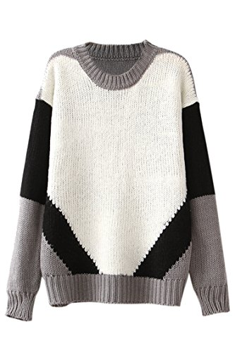 Pink Wind Color Block Geometry Thick Knit Coat Round Neck Sweater Jumper Tops