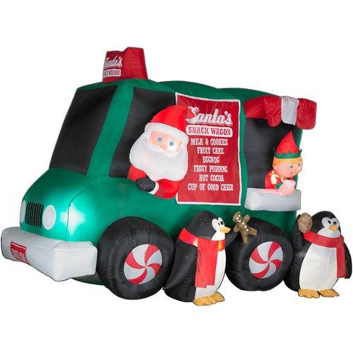 8 Airblown Inflatable Santa Penguin Coffee Shop Igloo: Santa Claus Outdoor Inflatables Page Two