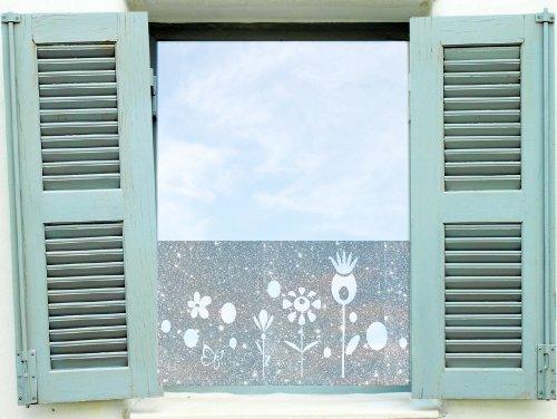 Dekorfolie, Fensterfolie Fenstertattoo selbstklebender Sichtschutz, Banner mit Blumen (20 Euro/ 1m) glas072 Aufkleber für Fenster, Glastür und Duschtür, Badezimmer Glasdekor Fensterbild, wasserfeste Glasdekorfolie in Sandstrahl - Milchglas Optik (0.80m x 0.42m)