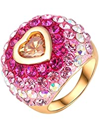 Yiwu Crystal PINK,YELLOW 18K ROSE GOLD METAL RING Fashion Jewellery For WOMEN