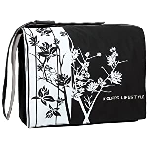 15.4 inch Classic Black and White Sparse Floral Laptop Notebook Padded Compartment Shoulder Messenger Bag Computer Carrying Case for MacBook Pro Sony Samsung Acer Toshiba by MyGift