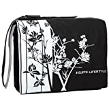 15.4 inch Midnight White Sparse Floral Laptop Notebook Padded Compartment Shoulder Messenger Bag