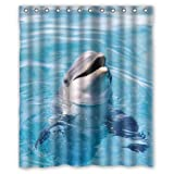 "Welcome!Waterproof Decorative Cute Dolphin Shower Curtain 60""x72""-1"