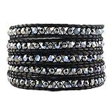 Chan Luu Stone Hematite White Opal Blue Sky Black Leather Wrap Bracelet BS-3008