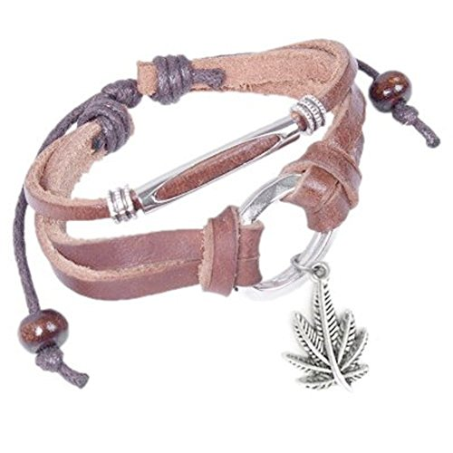 Leather Bracelet with Dangling Marijuana Leaf Pot Leaf Emblem Decal Wristlet / Wristband. 420 - Hemp Marijuana accessories for men or women. Novelty Marijuana Weed Jewelry- Slip Knot Pot Bracelet