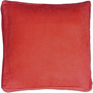 Pillow Decor - 16x16 Box Edge Royal Suede Red Throw Pillow