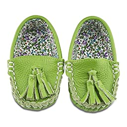 Go Green Leather and Fabric Lined Moccasin Shoes (12-18 Months)