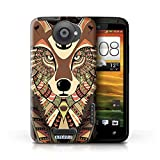 KOBALT® Protective Hard Back Case / Cover for HTC One X Wolf-Sepia Design Aztec Animal Design Collection