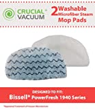 2 Bissell PowerFresh Steam Mop Pads; Fits All PowerFresh 1940 Series Models; Model # 5928; Designed & Engineered by Crucial Vacuum