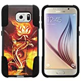 Galaxy S6 Case, Dual Layer Shell STRIKE Impact Kickstand Case with Unique Graphic Images for Samsung Galaxy S6 VI SM-G920 (T Mobile, Sprint, AT&T, US Cellular, Verizon) from MINITURTLE | Includes Clear Screen Protector and Stylus Pen - Rose Flame