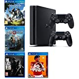 2019 Playstation 4 Slim PS4 1TB Console + Two Dualshock-4 Wireless Controllers (Jet Black) + 4 Games (Madden NFL 20, The Last of US, etc) Bundle (Color: Jet Black)
