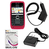 Rapid Car Charger + Home Travel Charger + Rose Pink Silicone Soft Cover Case + LCD Screen Protector for Nokia E71