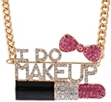 Ladies Gold Fully Iced Out I Do Makeup Pink Lipstick and Bow Pendant with an 18 Inch Adjustable Snake Franco Chain Necklace Reviews