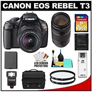 Canon EOS Rebel T3 12.2 MP Digital SLR Camera Body & EF-S 18-55mm IS II Lens with 75-300mm III Lens + 16GB Card + Battery + Case + (2) Filters + Flash + Cleaning & Accessory Kit