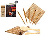 Bamboo Sushi Kit, Carbonized Rolling Mats for Mold-Resistant, Included 2 Rolling Mats - 5 Pairs Chopsticks - Paddle - Spreader - Beginner's Guide (PDF), Roll on! Beginner Sushi Making Kit