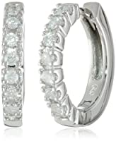 10k White Gold Diamond Hoop Earrings (1/4 cttw, H-I Color, I2-I3 Clarity) by Amazon Curated Collection