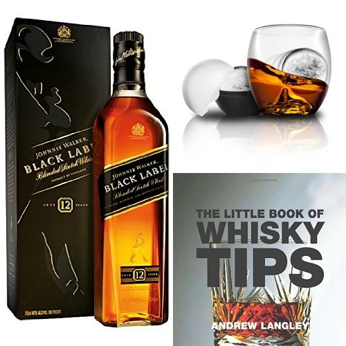 discount duty free Bundle: Johnnie Walker Black Label Blended Scotch Whisky 70cl, On the Rocks Tumbler & Ice Ball Mould and The Little Book of Whisky Tips