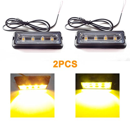 Yehard LED Strobe Lights Emergency Flash Lights Amber Waterproof Emergency Beacon Flash Caution Strobe Light Flashing 12-24V for Car Side and Front SUV Pickup Truck (2pcs) (Lights For Cars Front compare prices)